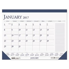 Recycled Two-Color Monthly Desk Pad Calendar w/Large Notes Section, 22x17, 2017