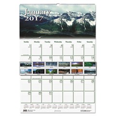 Recycled Scenic Beauty Monthly Wall Calendar, 12 x 16 1/2, 2017