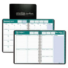 Recycled Express Track Weekly/Monthly Appointment Book, 8.5x11, Black, 2017-2018