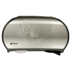 Twin Jumbo Bath Tissue Dispenser, 19 1/4 x 6 x 12 1/4, Faux Stainless Steel