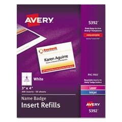 Name Badge Insert Refills, Horizontal, 3 x 4, White, 300/Box