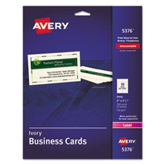 Printable Microperforated Business Cards with Sure Feed Technology, Laser, 2 x 3.5, Ivory, Uncoated, 250/Pack