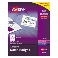 Flexible Adhesive Name Badge Labels, 2 1/3 x 3 3/8, WE, 400/BX