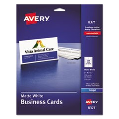 Printable Microperforated Business Cards with Sure Feed Technology, Inkjet, 2 x 3.5, White, Matte, 250/Pack