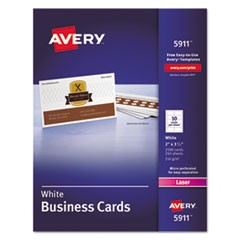 Printable Microperf Business Cards, Laser, 2 x 3 1/2, White, Uncoated, 2500/Box