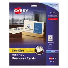 True Print Clean Edge Business Cards, Inkjet, 2 x 3 1/2, Ivory, 200/Pack