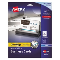 True Print Clean Edge Business Cards, Inkjet, 2 x 3 1/2, White, 200/Pack