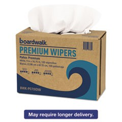 Hydrospun Wipers, White, 9 x 16 3/4, 10 Pack Dispensers of 100, 1000/Carton