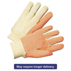 1000 Series PVC Dotted Canvas Gloves, Orange/Black, Large, 12 Pairs