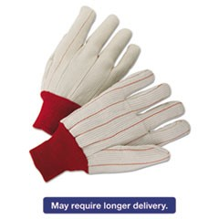1000 Series Canvas Gloves, White/Red, Large, 12 Pairs