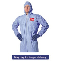 Tempro Elastic-Cuff Hooded Coveralls, Blue, 2X-Large, 25/Carton