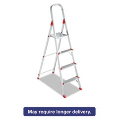 #566 Folding Aluminum Euro Platform Ladder, 4-Step, Red