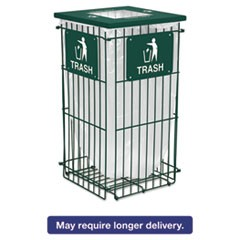 Clean Grid Fully Collapsible Waste Receptacle, Square Top, 45gal, Hunter Green