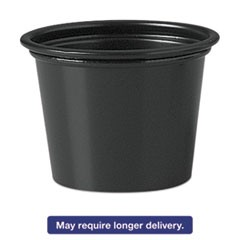Polystyrene Portion Cups, 1 oz, Black, 2500/Carton