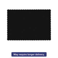 Solid Color Scalloped Edge Placemats, 9 1/2 x 13 1/2, Black, 1000/Carton