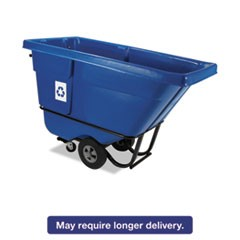 Rotomolded Recycling Tilt Truck, Rectangular, Plastic, 850 lb. Cap., Blue