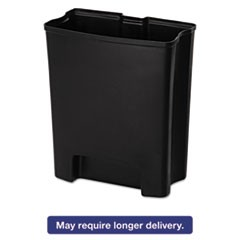 Step-On Rigid Liner For Stainless End Step, Plastic, 13 gal, Black