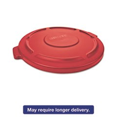 "Flat Top Lid for 20-Gallon Round Brute Containers, 19 7/8"" dia., Red, 6/Carton"