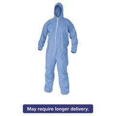 A60 Elastic-Cuff & Back Hooded Coveralls, Blue, Large, 24/Case