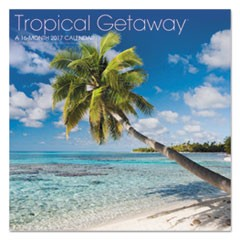 Landmark Tropical Getaway Wall Calendar, 12 x 11, 2017