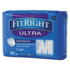 "1FitRight Ultra Protective Underwear, Medium, 28"" to 40"" Waist, 20/Pack, 4 Pack/Carton"