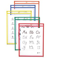 1Reusable Dry Erase Pockets, 9 x 12, Assorted Primary Colors, 10/Pack