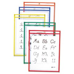 1Reusable Dry Erase Pockets, 9 x 12, Assorted Primary Colors, 25/Box