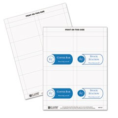 Scored Tent Cards, White Cardstock, 2 x 3.5, 4/Sheet, 40 Sheets/Box
