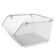 Wire Mesh Stacking Shelving Bins, 12.75w x 15.13d x 8.63h, Silver, 2/Set