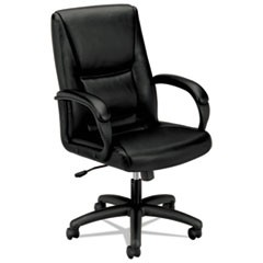 HVL161 Executive High-Back Leather Chair, Supports up to 250 lbs., Black Seat/Black Back, Black Base