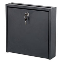1Wall-Mountable Interoffice Mailbox, 12w x 3d x 12h, Black