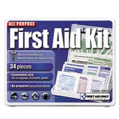 1All-Purpose First Aid Kit, 34 Pieces, 3 3/4 x 4 3/4 x 1/2, Blue/White