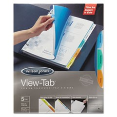 View-Tab Transparent Index Dividers, 5-Tab, Rectangle, Letter, Assorted