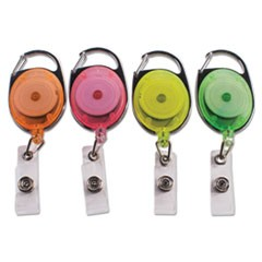 "Carabiner-Style Retractable ID Card Reel, 30"" Extension, Assorted Neon, 20/Pack"
