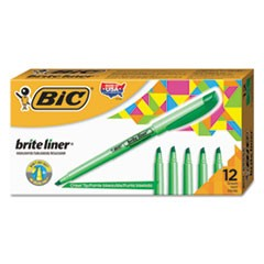 Brite Liner Highlighter, Chisel Tip, Fluorescent Green, Dozen