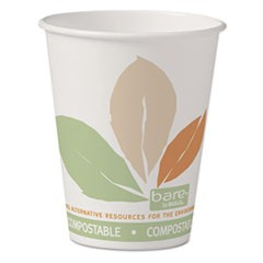 Bare Eco-Forward PLA Paper Hot Cups, 8 oz, White w/Leaf Design, 50/Pack