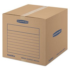 "SmoothMove Basic Moving Boxes, Medium, Regular Slotted Container (RSC), 18"" x 18"" x 16"", Brown Kraft/Blue, 20/Bundle"