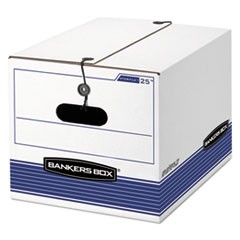 "STOR/FILE Medium-Duty Strength Storage Boxes, Letter/Legal Files, 12.25"" x 16"" x 11"", White/Blue, 4/Carton"