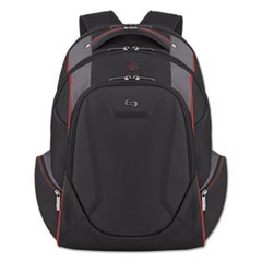 "Launch Laptop Backpack, 17.3"", 12 1/2 x 8 x 19 1/2, Black/Gray/Red"