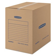 "SmoothMove Basic Moving Boxes, Large, Regular Slotted Container (RSC), 18"" x 18"" x 24"", Brown Kraft/Blue, 15/Carton"