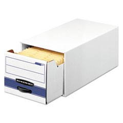 "STOR/DRAWER STEEL PLUS Extra Space-Savings Storage Drawers, Letter Files, 10.5"" x 25.25"" x 6.5"", White/Blue, 12/Carton"
