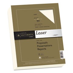 25% Cotton Premium Laser Paper, 32lb, Smooth, 8 1/2 x 11, Ivory, 300 Sheets