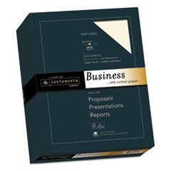 25% Cotton Business Paper, 24 lb, 8.5 x 11, Natural, 500/Ream