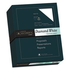 25% Cotton Diamond White Business Paper, 95 Bright, 24 lb, 8.5 x 11, 500/Ream