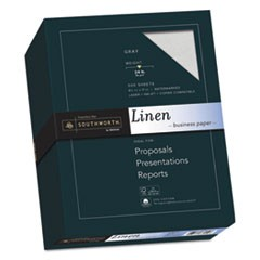 25% Cotton Linen Business Paper, 24 lb, 8.5 x 11, Gray, 500/Ream