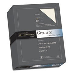 Granite Specialty Paper, Ivory, 24lb, 8 1/2 x 11, 25% Cotton, 500 Sheets