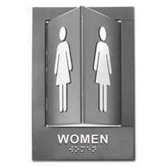 Pop-Out ADA Sign, Women, Tactile Symbol/Braille, Plastic, 6 x 9, Gray/White
