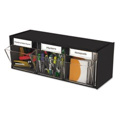 Tilt Bin Interlocking 3-Bin Organizer, 23 5/8 x 7 3/4 x 9 1/2, Black/Clear