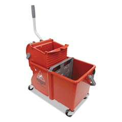 Side-Press Restroom Mop Dual Bucket Combo, 4 gal, Plastic, Red
