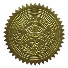 "Self-Adhesive Embossed Seals, 2"" Dia, Official Seal of Excellence, Gold, 100/PK"